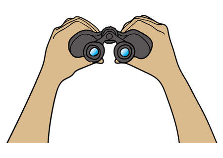 observations: Hand with binoculars