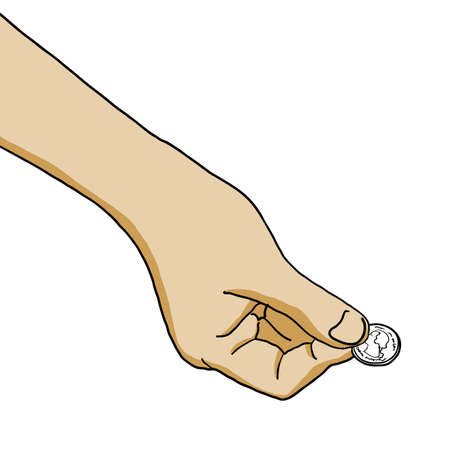 The illustration of hand with coins