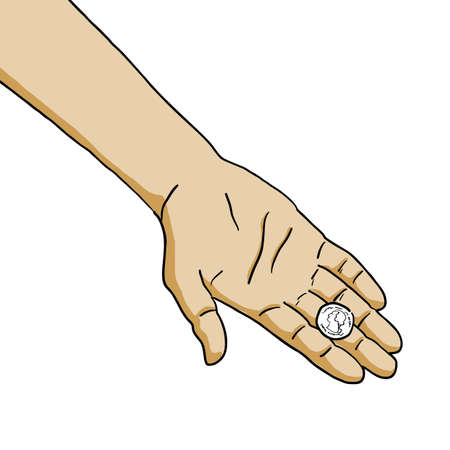 metal tips: The illustration of hand with coins