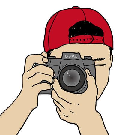 reflex camera: Photographer Illustration