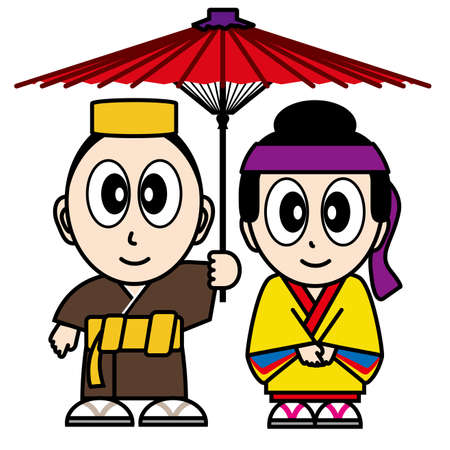 Okinawa couple dressed in traditional costume. Illustration