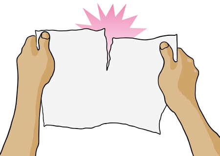 紙を手で引き裂く