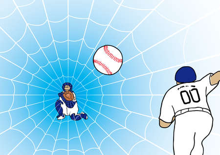 catcher's mitt: Catchers mitt is like a spiders nest Illustration