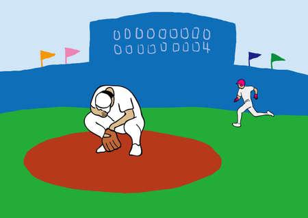 投手は点を失っています。  イラスト・ベクター素材