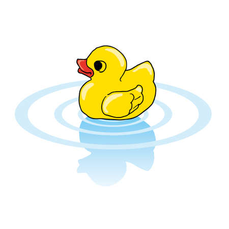 floating in water: Duck toy are floating in the water. Illustration
