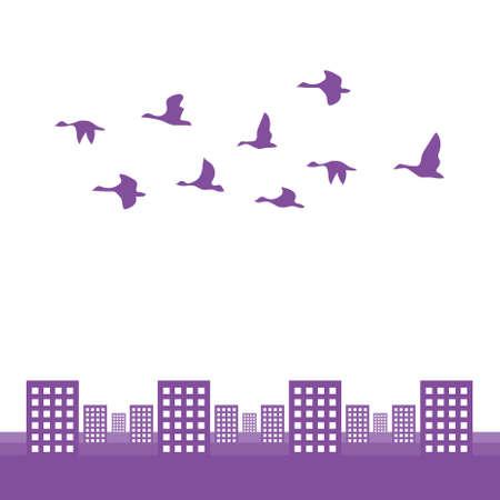 鳥の群れ  イラスト・ベクター素材