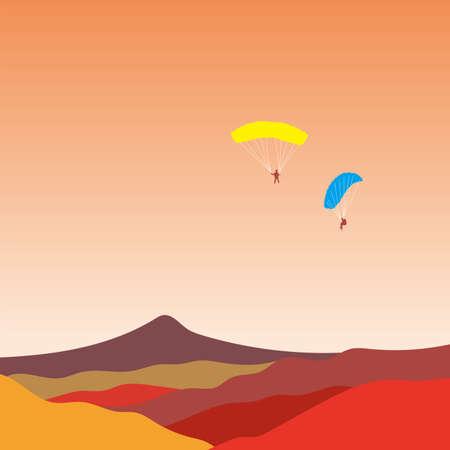Paragliding vector illustration. Illustration