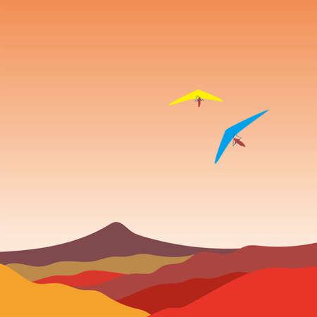 Hang glider, vector illustration.