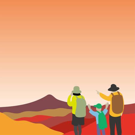 Trekking vector illustration.