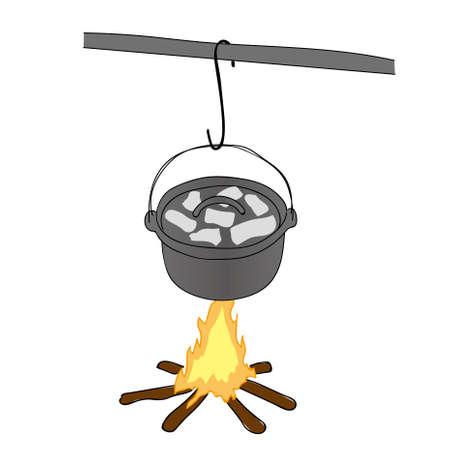 Bonfire and Dutch oven illustration. Illustration
