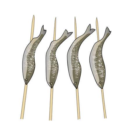 Skewers of fish illustration.