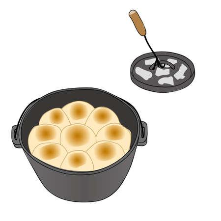 ダッチ オーブンでパン  イラスト・ベクター素材