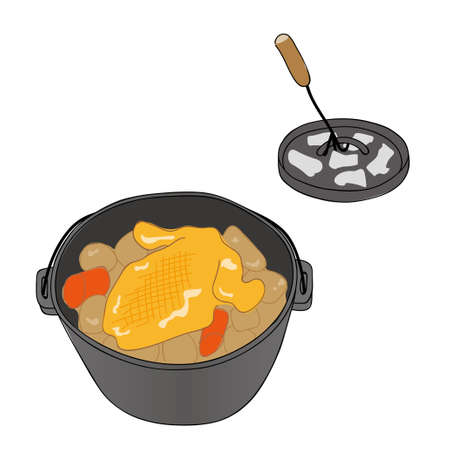 Dutch oven with roast chicken Illustration