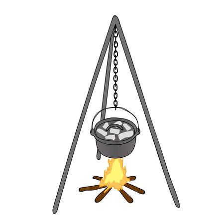Bonfire and Dutch oven Illustration