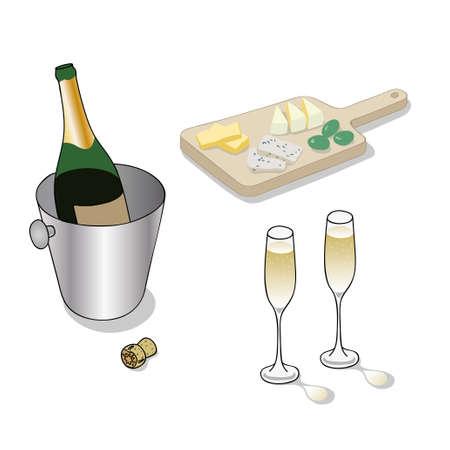 Champagne en kaas Stock Illustratie