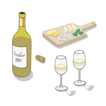 Wijn en kaas Vector Illustratie