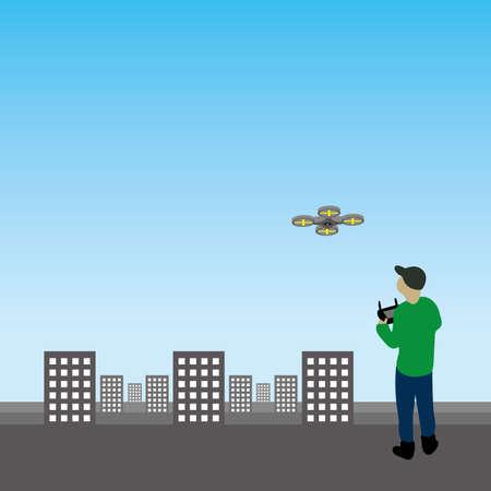 リモート制御の無人機を持った男の図。