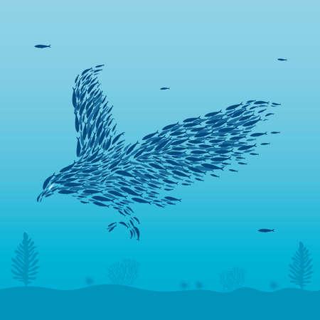 Sardines that form a bird. Illustration
