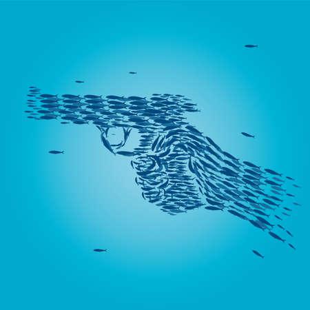 Sardines that form a gun
