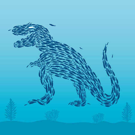 Sardines that form a dinosaur Ilustracja