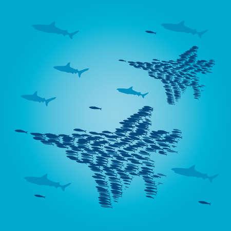 Sardines that form a jet fighter. Ilustracja