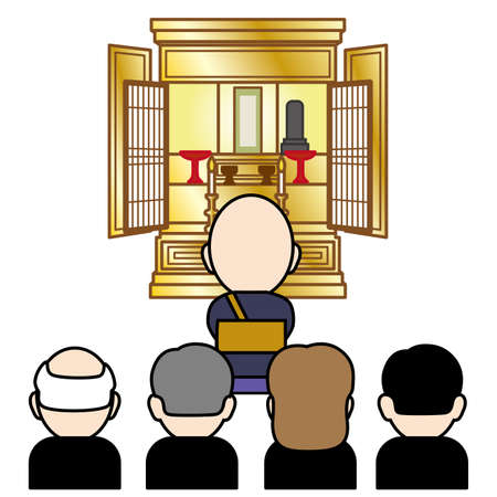 Vector illustration of a Buddhist altar