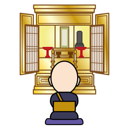 Vector illustration of a Buddhist altar with a monk