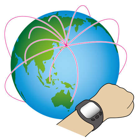 Smart Watch and Earth vector illustration.