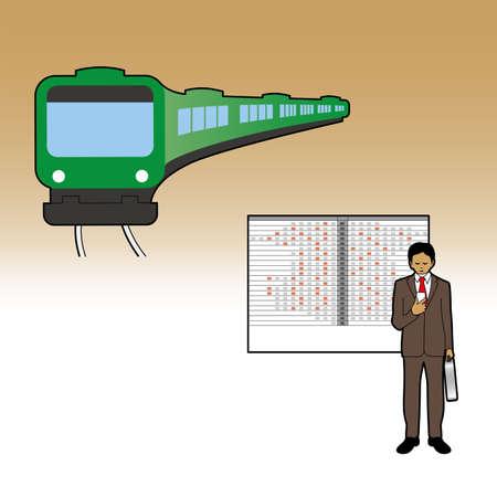 Businessman and public transportation Ilustrace