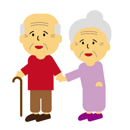 Care for the aged, grandfather and grandmother vector illustration. Vettoriali