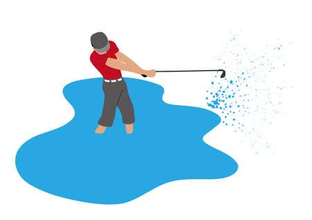 Illustration of golf player hitting a golf ball.