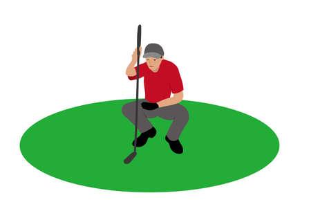 Illustration of golf player looking his shot. Illustration