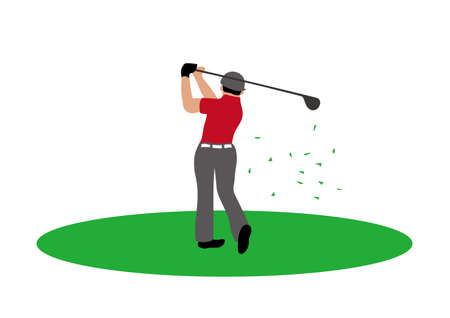 Illustration of golf player hitting a golf ball.