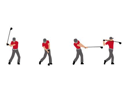 illustration de golf player balancer golf trailer