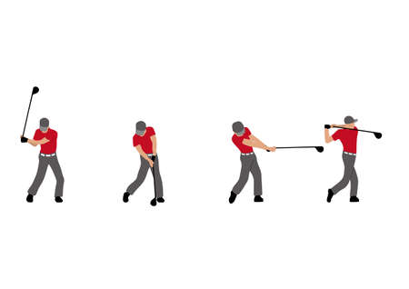 Illustration of golf player swinging golf club.