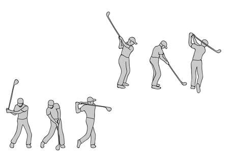 Illustration of golf player with golf club on white background.