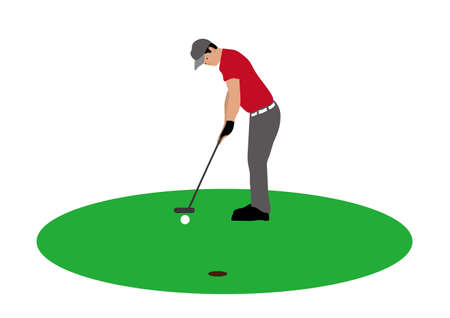 Illustration of golf player aiming his shot.
