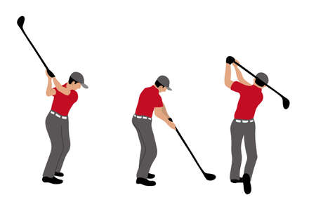 Illustration of golf player with golf club.