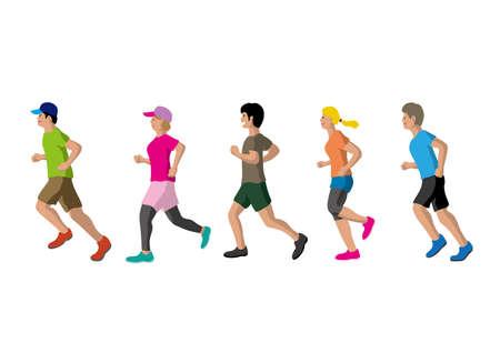 People who enjoy jogging vector set Çizim