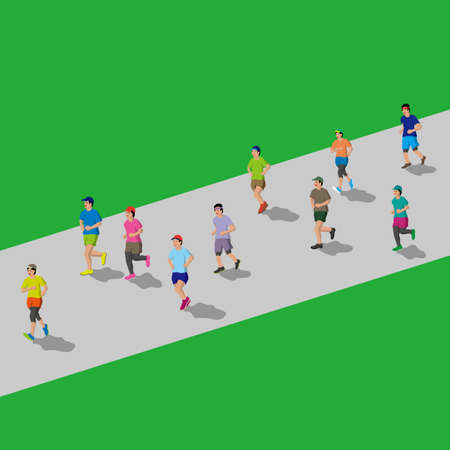 People who enjoy jogging isometric style