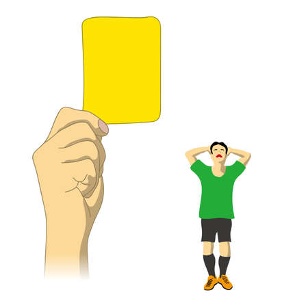 Judgment of yellow card was issued Stock Illustratie