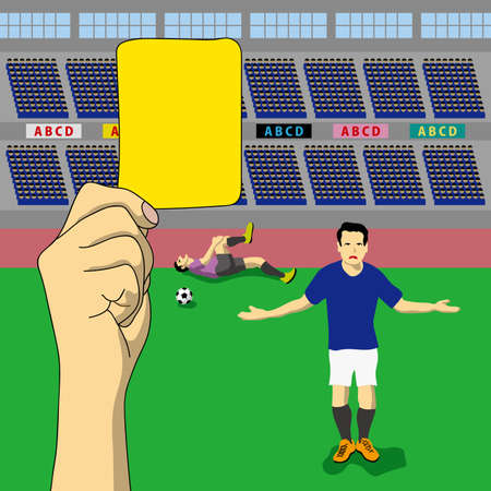 A judgment of yellow card was issued, concept illustration. 写真素材 - 97417491