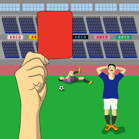 A judgment of red card was issued, concept illustration. 写真素材 - 97417497