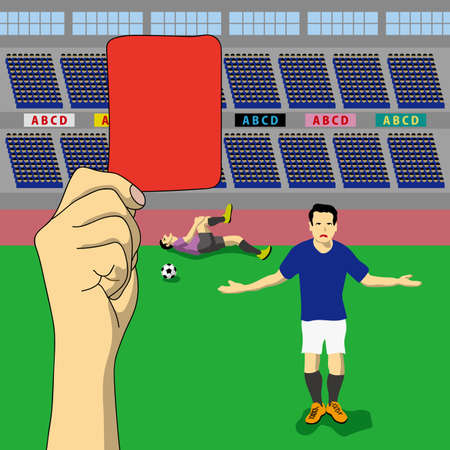 A judgment of red card was issued, , concept illustration. 写真素材 - 97417518