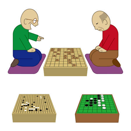 Two elderly people playing shogi board game Vector illustration. Illustration