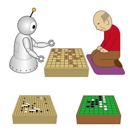 Robot and old man playing shogi board game Vector illustration.