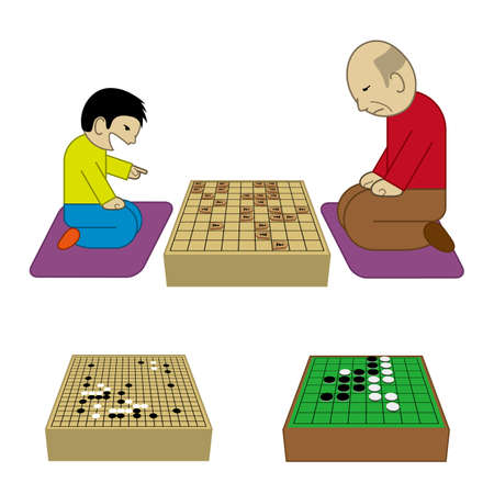 Child and old man playing shogi board game Vector illustration.