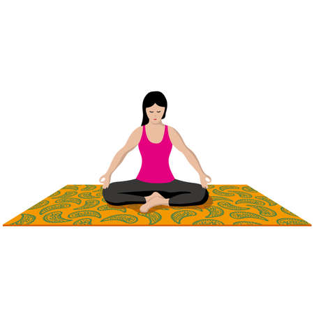 A woman who takes a yoga pose Vector illustration.