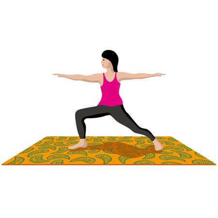 A woman who takes a yoga pose