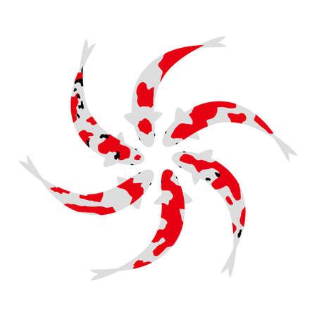 Synchronized swimming of carp Stock Illustratie